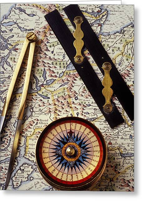 Gauge Greeting Cards - Map with compass tools Greeting Card by Garry Gay