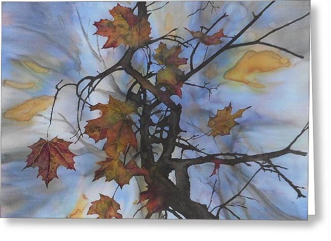 Tapestries - Textiles Greeting Cards - Maple Autumn Splash Greeting Card by Carolyn Doe