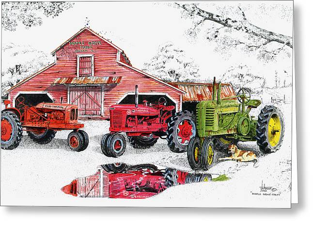 Red Barn Prints Greeting Cards - Maple Grove Farms Greeting Card by Larry Johnson
