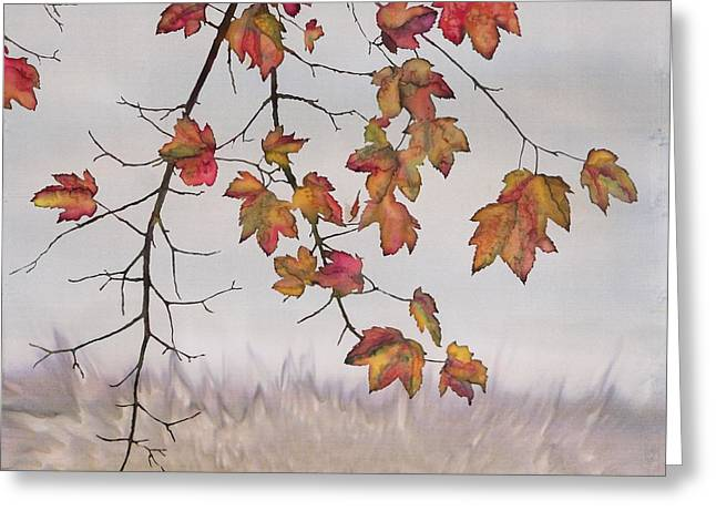 Trees Tapestries - Textiles Greeting Cards - Maple in gray sky Greeting Card by Carolyn Doe