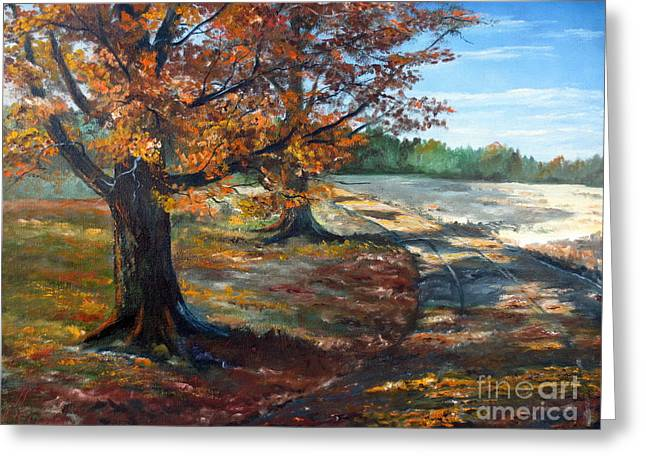 Lee Piper Art Greeting Cards - Maple Lane Greeting Card by Lee Piper