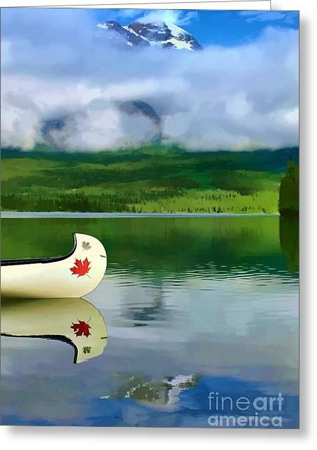 Pyramid Mountain Greeting Cards - Maple Leaf Canoe on Pyramid Lake Greeting Card by Teresa Zieba