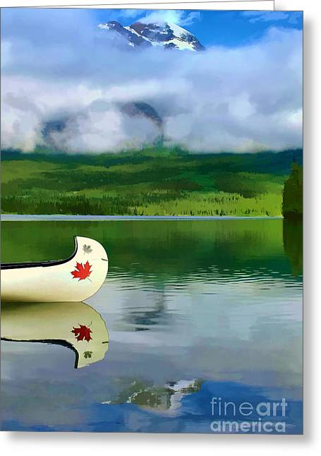 Maple Leaf Canoe On Pyramid Lake Greeting Card by Teresa Zieba