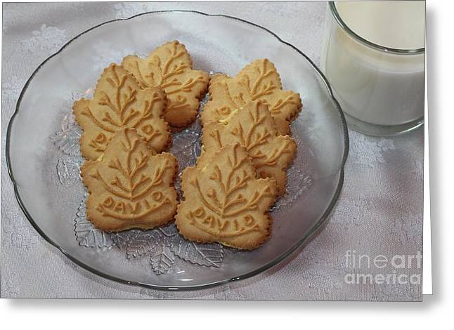 Cookies And Milk Greeting Cards - Maple Leaf Cookies and Milk - Food Art - Kitchen Greeting Card by Barbara Griffin