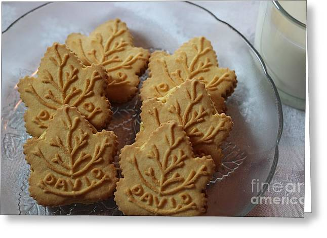 Cookies And Milk Greeting Cards - Maple Leaf Cookies and Milk 2 - Food Art - Kitchen Greeting Card by Barbara Griffin