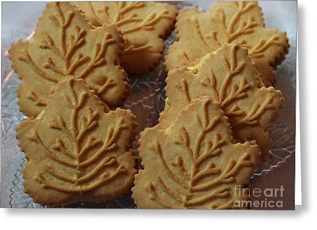 Cookies And Milk Greeting Cards - Maple Leaf Cookies and Milk 3 - Food Art - Kitchen Greeting Card by Barbara Griffin