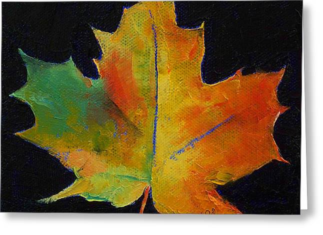 Lhuile Greeting Cards - Maple Leaf Greeting Card by Michael Creese