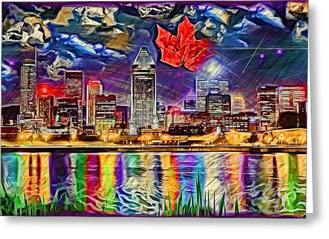 Reflections Of Sky In Water Digital Greeting Cards - Maple Leaf Montreal Greeting Card by Daniel Janda