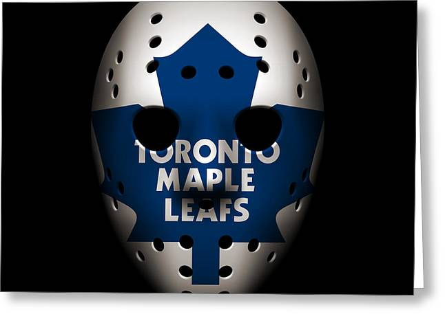 Maple Leafs Captain Greeting Cards - Maple Leafs Goalie Mask Greeting Card by Joe Hamilton