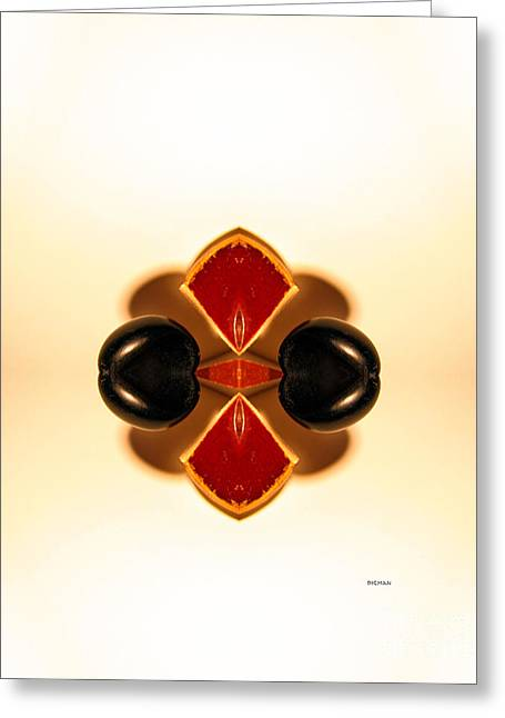 Abstract Geometric Greeting Cards - Maple Orange Peels and Ebony Olives  Greeting Card by Steven  Digman