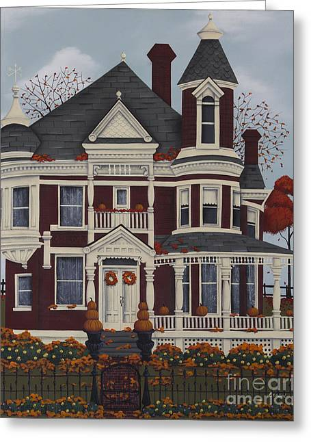 American Primitive Art Greeting Cards - Maple Place Greeting Card by Catherine Holman