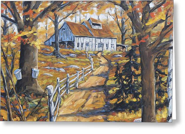 Maple Syrup Greeting Cards - Maple Sugar Bush  Road by Prankearts Greeting Card by Richard T Pranke