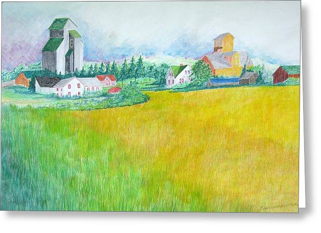Feed Mill Paintings Greeting Cards - Maplewood Feed Mills Greeting Card by Kathleen Barlament