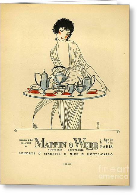 Vintage Greeting Cards - Mappin And Webb  1920s France Cc Tea Greeting Card by The Advertising Archives