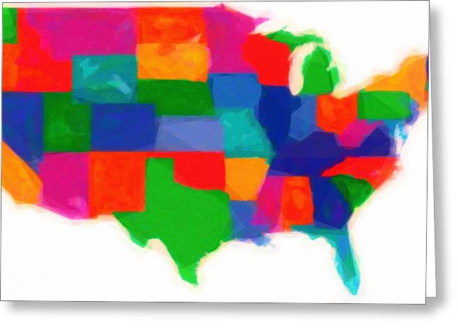 With Love Greeting Cards - Maps Of Usa With States Modern Watercolor Greeting Card by Celestial Images