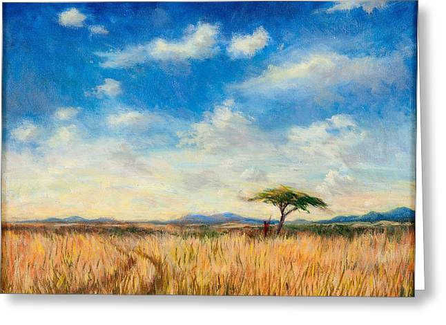 Acacia Tree Greeting Cards - Mara Landscape, 2012 Oil On Canvas Greeting Card by Tilly Willis