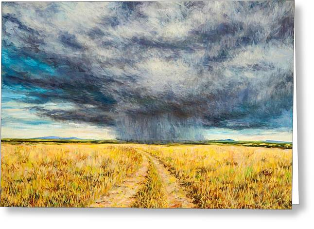 Grey Clouds Greeting Cards - Mara Storm, 2012 Oil On Canvas Greeting Card by Tilly Willis
