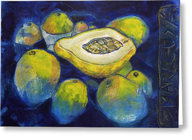 Dinner Pastels Greeting Cards - Maracuya/Passion Fruit Greeting Card by Andrea Montano