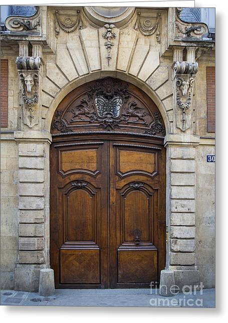 French Doors Greeting Cards - Marais Door Greeting Card by Brian Jannsen