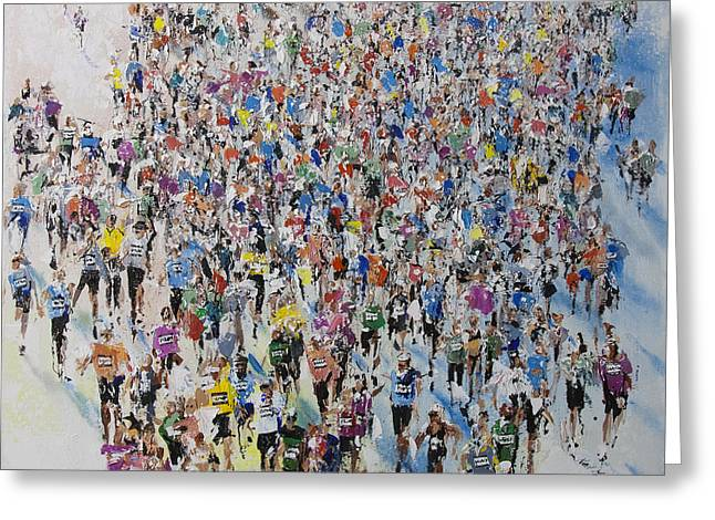 Jogging Greeting Cards - Marathon by Neil McBride Greeting Card by Neil McBride
