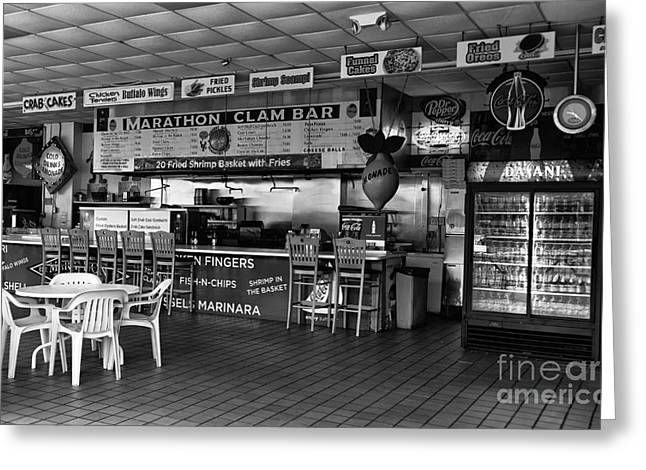Seaside Heights Greeting Cards - Marathon Clam Bar mono Greeting Card by John Rizzuto