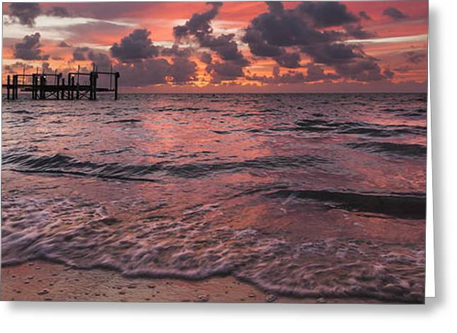 Cloudscapes Greeting Cards - Marathon Key Sunrise Panoramic Greeting Card by Adam Romanowicz