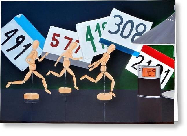 Jogging Greeting Cards - Marathon Man Greeting Card by Karyn Robinson