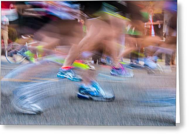 Runner Greeting Cards - Marathon Greeting Card by Randy Walton