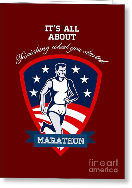 Marathon Runner Finish What You Start Poster Greeting Card by Aloysius Patrimonio