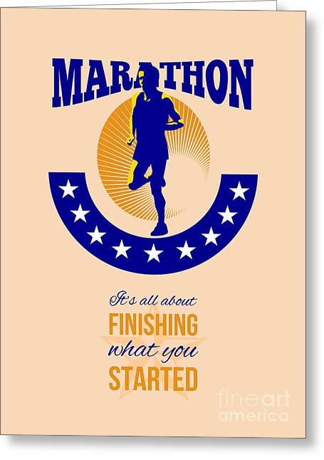 Marathon Runner Finishing Retro Poster Greeting Card by Aloysius Patrimonio