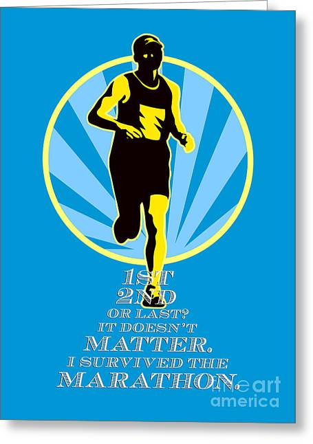 Marathon Runner First Retro Poster Greeting Card by Aloysius Patrimonio