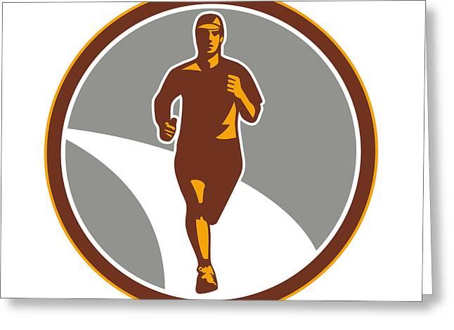 Jogging Greeting Cards - Marathon Runner Front Circle Retro Greeting Card by Aloysius Patrimonio