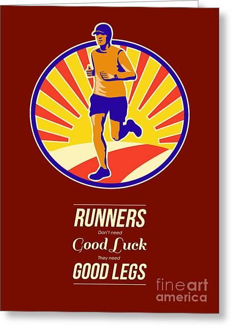 Jogging Greeting Cards - Marathon Runner Retro Poster Greeting Card by Aloysius Patrimonio