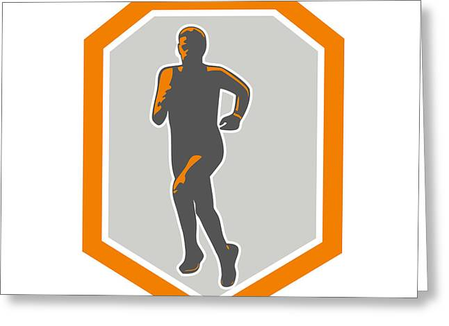 Marathon Runner Running Front Shield Retro Greeting Card by Aloysius Patrimonio