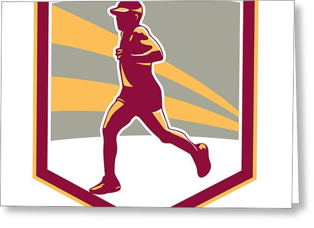 Marathon Greeting Cards - Marathon Runner Shield Retro Greeting Card by Aloysius Patrimonio