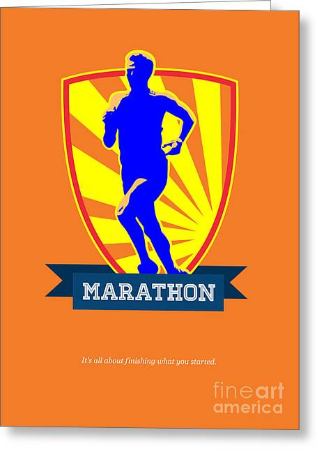 Marathon Runner Starting Run Retro Poster Greeting Card by Aloysius Patrimonio