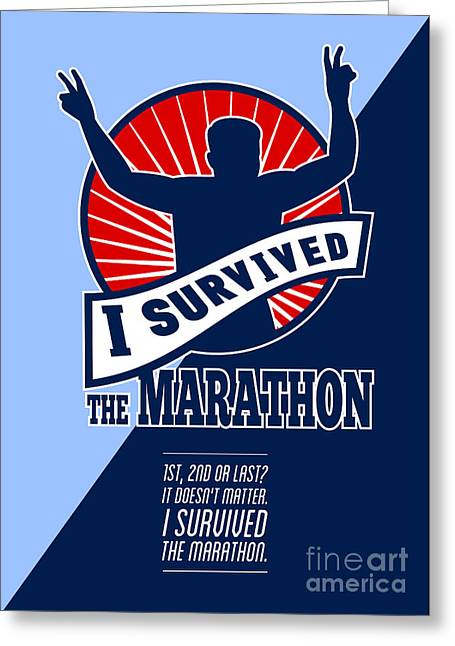 Marathon Runner Survived Poster Retro Greeting Card by Aloysius Patrimonio
