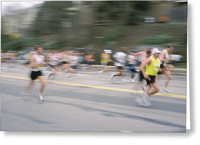 Runner Greeting Cards - Marathon Runners On A Road, Boston Greeting Card by Panoramic Images