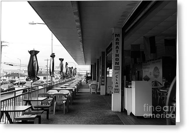 Seaside Heights Greeting Cards - Marathon Steaks and Clams mono Greeting Card by John Rizzuto