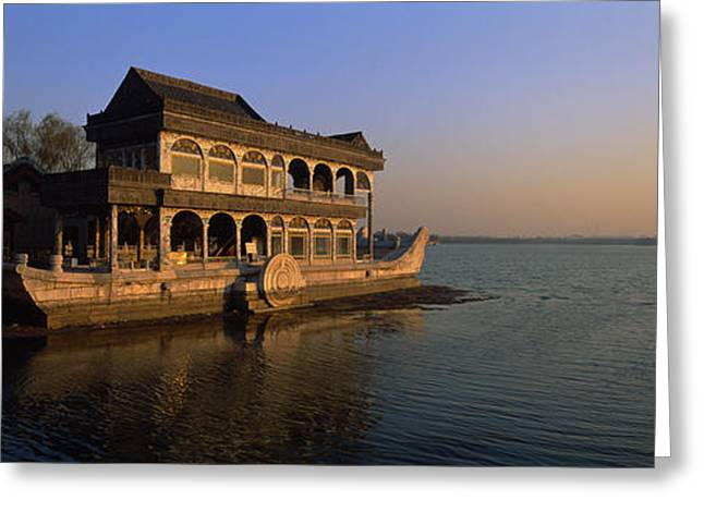 Water Vessels Greeting Cards - Marble Boat In A River, Summer Palace Greeting Card by Panoramic Images