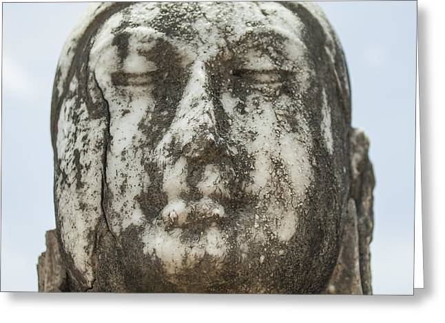 Samadhi Greeting Cards - Marble buddha head Greeting Card by Patricia Hofmeester