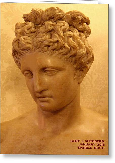 Digital Sculptures Greeting Cards - Marble Bust Greeting Card by Gert J Rheeders