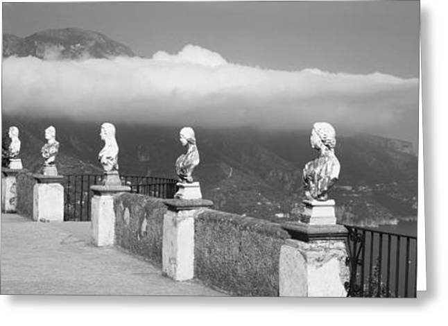 Old Walkway Greeting Cards - Marble Busts Along A Walkway, Ravello Greeting Card by Panoramic Images