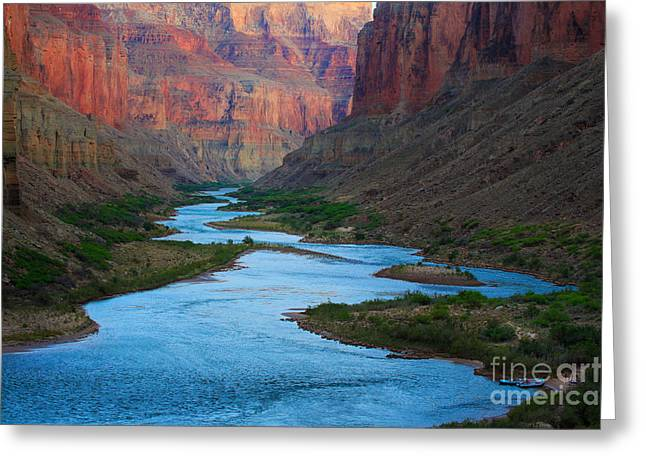 Narrow Greeting Cards - Marble Canyon Rafters Greeting Card by Inge Johnsson