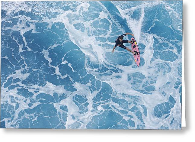Big Wave Surfing Greeting Cards - Marble Carve Greeting Card by Sean Davey