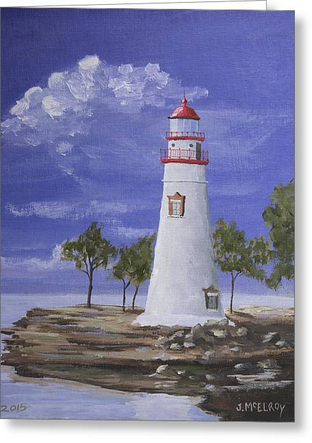 Marble Head Lighthouse Greeting Card by Jerry McElroy
