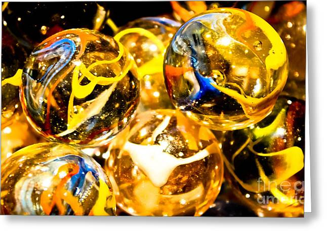 Glasswork Greeting Cards - Marble Mania  Greeting Card by Colleen Kammerer