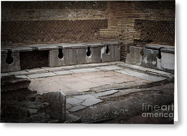 Bathroom Prints Greeting Cards - Marble Public Toilets Greeting Card by Prints of Italy