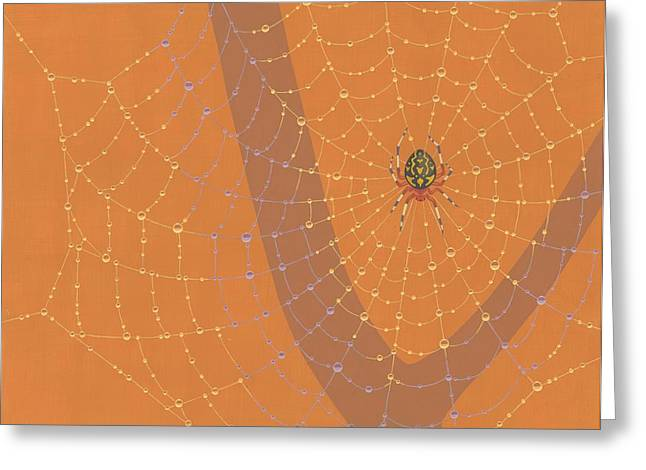 Web Paintings Greeting Cards - Marbled Orbweaver Spider Greeting Card by Nathan Marcy
