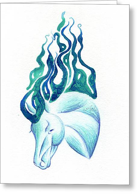 Surreal Fantasy Horse Fine Art Greeting Cards - Marbled Water Horse Portrait  Greeting Card by Anila Tac